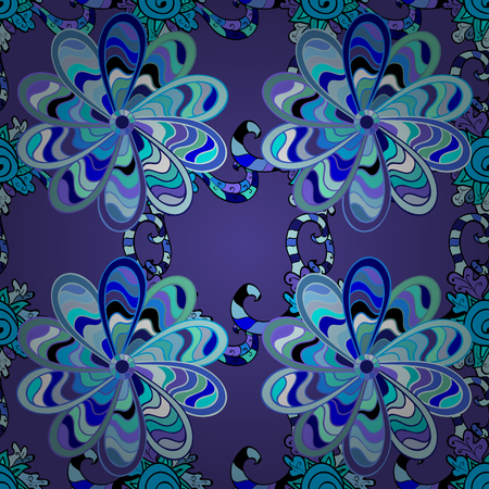 dull: Blue seamless pattern with light doodles stripe leaves details. Vector.