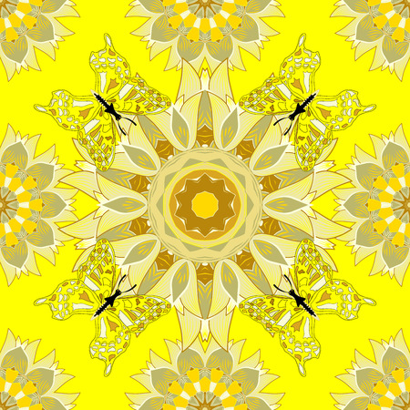 warm colors: Beautiful texture with mandalas in warm colors. Raster.