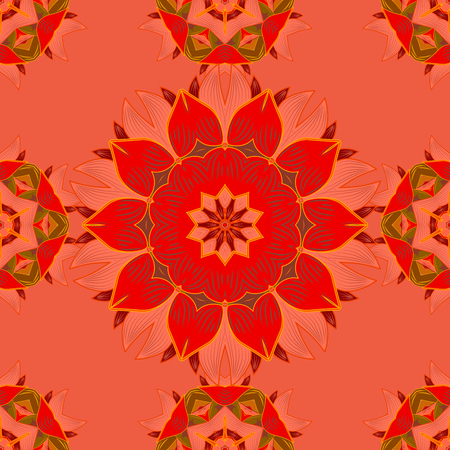Seamless pattern with Mandalas. Raster ornaments, background. Pink. Red.