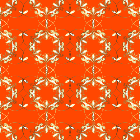 Seamless abstract pattern on orange background with floral golden elements. Raster illustration. Pattern background.