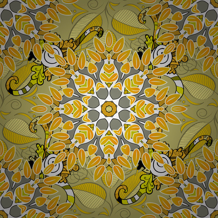 mendie: Beautiful texture with mandalas in yellow and light colors Illustration