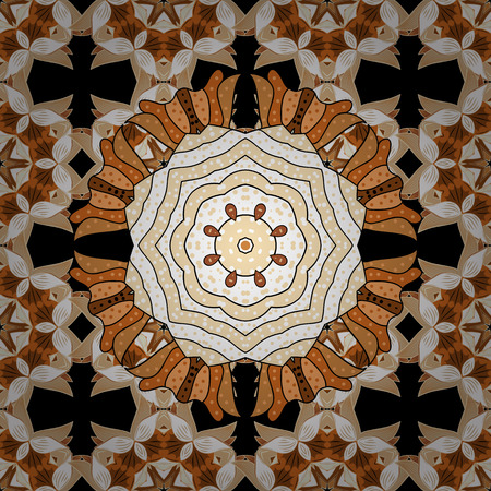 laced: Repeating geometric tiles with mandala. Vector laced decorative background with floral and geometric ornament. Seamless oriental ornamental pattern. Indian or Arabic motive. Brown, white. Illustration
