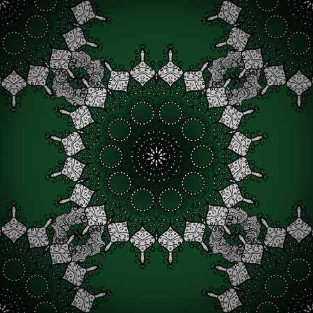 Seamless mandala pattern in green, white on lime green background. Illustration