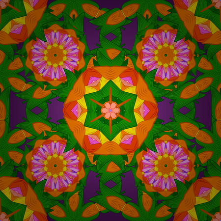 Seamless floral mandala pattern in pink, turquoise green and pale orange on floral colorful background.