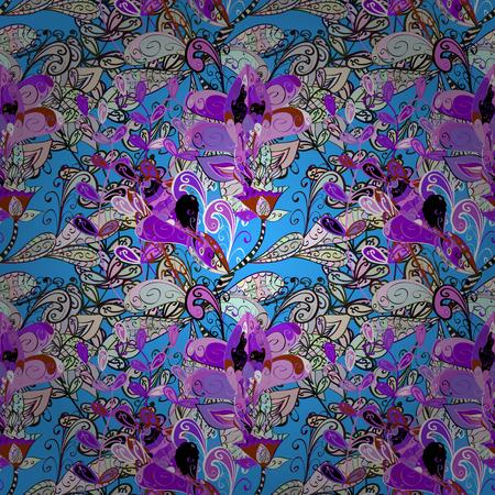 black swirls: Vector boho chic flower pattern. Unusual flourish ornament. Pink, lilac, blue, white.