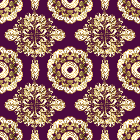 Gold-on-Purple seamless Indian floral pattern. vector illustration.