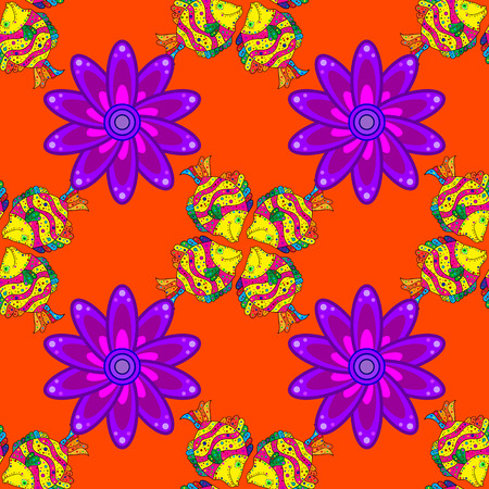 violet flowers: Mandalas violet flowers on orange background. Vector.