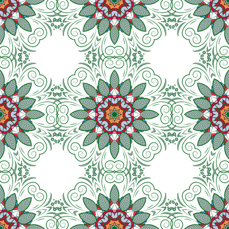 green and red: Mandalas on white background. Green, red. Vector. Illustration