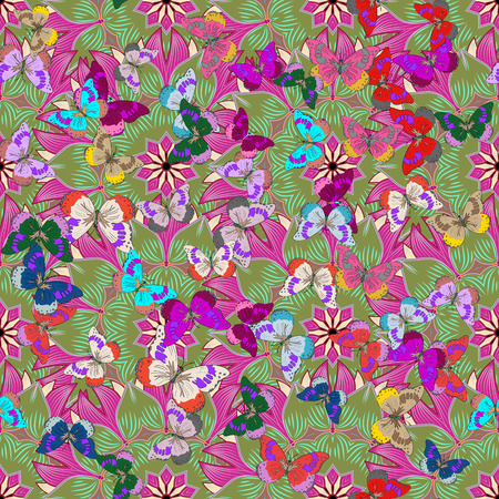 manic: seamless floral background with butterflies. Dim background. Vector illustration.