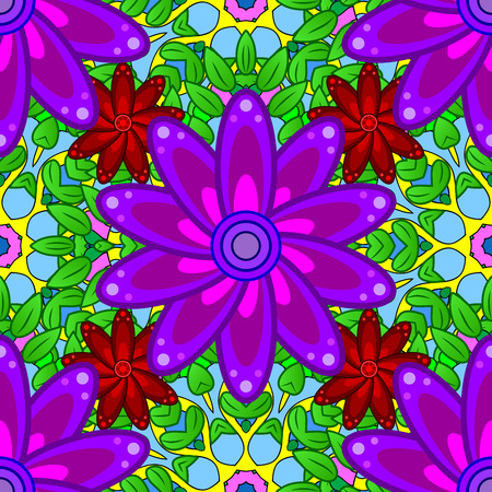 violet red: Petal flowers background. Green, red, lilac, violet. Raster. Stock Photo