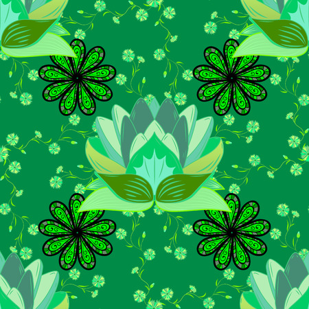 Pink lotuses in the pond. Seamless lily pattern. Water flowers and plants. Lake background with water lilies. Endless ornament. Endless illustration. Nature backdrop.