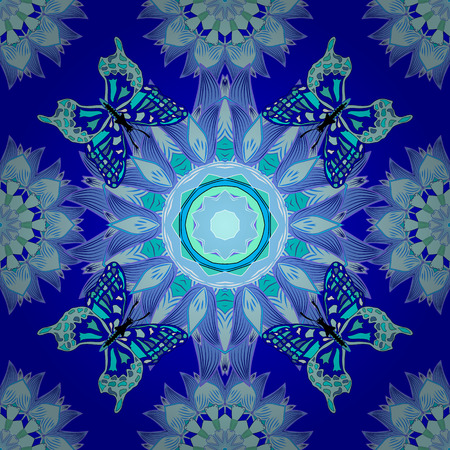 Blue background. Blue mandalas. Butterflies. Vector illustration.