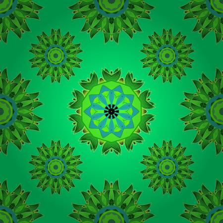 Green mandalas. Yellow. Vector illustration. Illustration