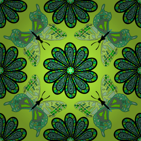 consist: vector texture consist of flowers on green background. Vector illustration