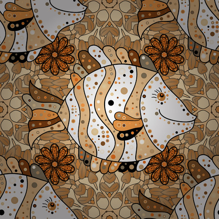 Seamless pattern with Mandalas. Vector ornaments, background. Brown. Beige. Orange. Fish.