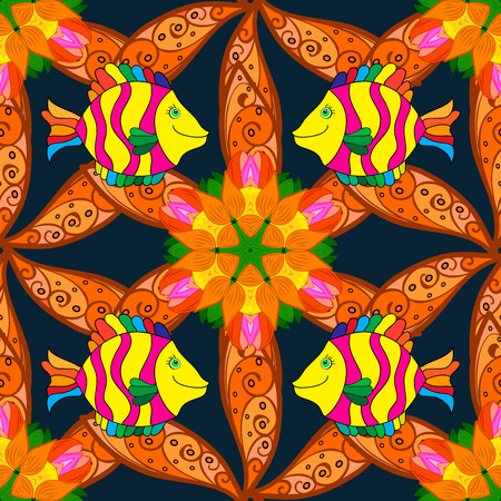 Orange patals flowers and yellow doodles fish. Raster illustration. Stock Photo