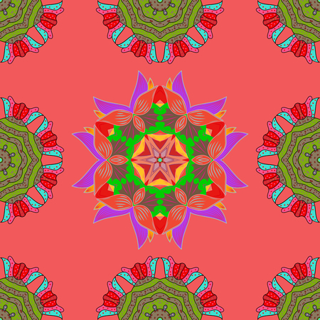 green and red: Mandalas on pink background. Green, red, violet. Raster illustration.