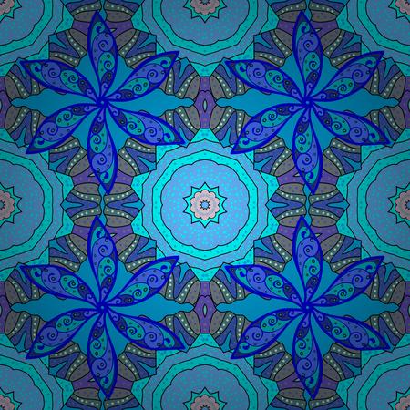 Blue mandalas. Winter snowflakes. Vector illustration. Frosty pattern. Illustration