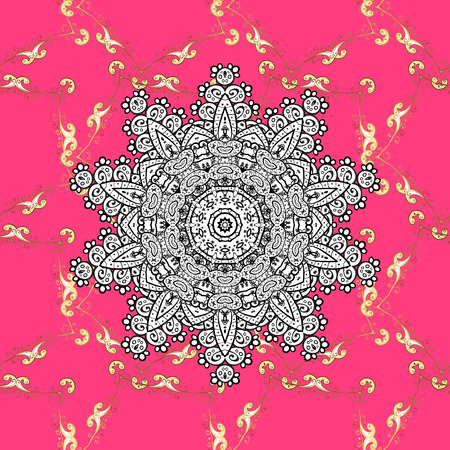 Seamless vintage pattern on pink background with golden and white elements. Illustration