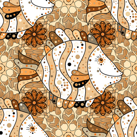 Seamless pattern with Mandalas. Raster ornaments, background. Brown. Beige. Orange. Fish.