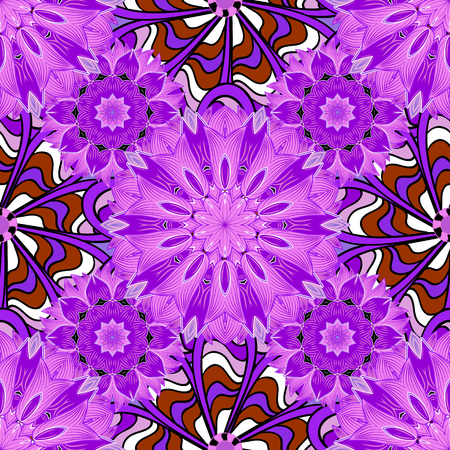 Lilac mandalas. Winter snowflakes. Red. Vector illustration. Frosty pattern.