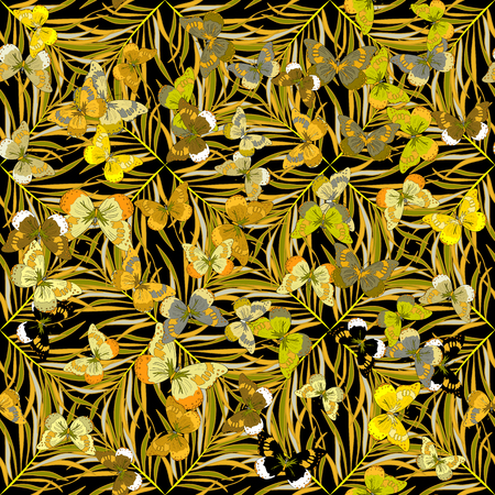 a frill: Butterfly and flowers, grass. Yellow. Black background. Vector.