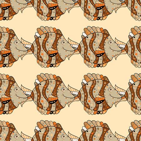 Seamless pattern background. Brown. Beige. Orange. Fish.