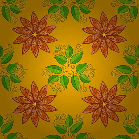 Autumn flowers on orange and dim yellow background. Green leaves. Vector.