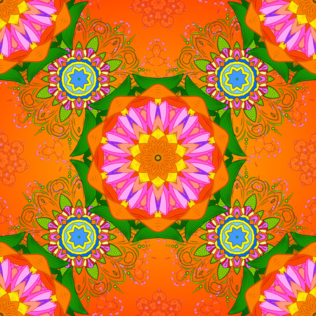 Seamless floral mandala pattern in purple, turquoise green and pale orange on floral blue background.
