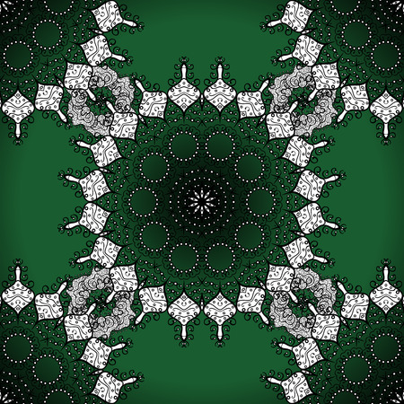 Seamless mandala pattern in green, white on lime green background. Stock Photo