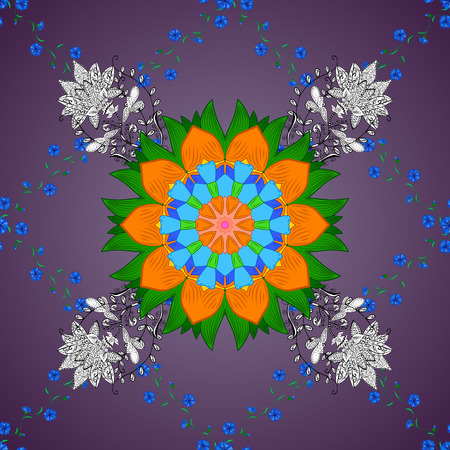 Lilac round gradient background with white and green and orange petals mandala. Vector illustration.