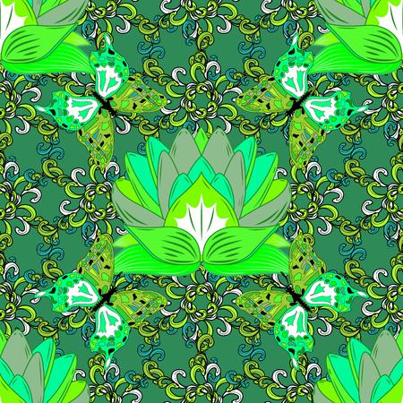 Green Lotus Mandala Seamless Pattern Vector Illustration. Butterfly Иллюстрация