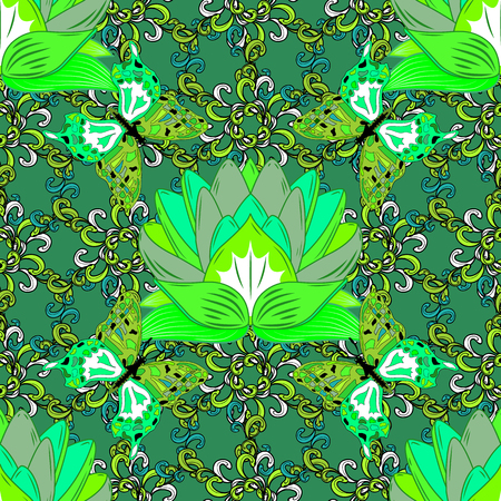 Green Lotus Mandala Seamless Pattern Vector Illustration. Butterfly Illustration