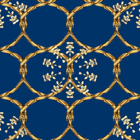 Seamless vintage pattern on blue background with golden elements.