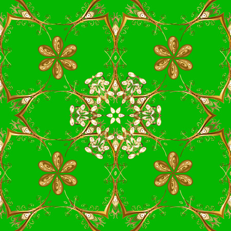 Seamless vintage pattern on green background with golden elements.