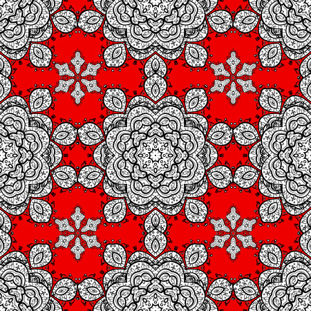 gray dot: Ethnic ornament mandala geometric patterns in white colors on red floral background. Seamless pattern. Illustration