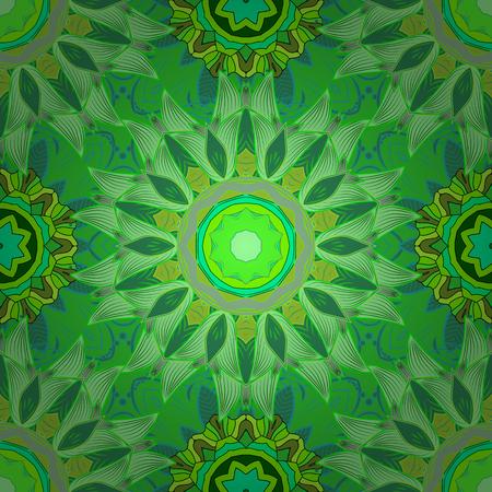 petals: Green mandalas with sharp petals. Vector illustration.