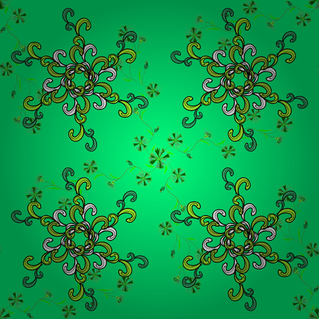 Dim green background with doodles flowers. Vector illustration. Illustration