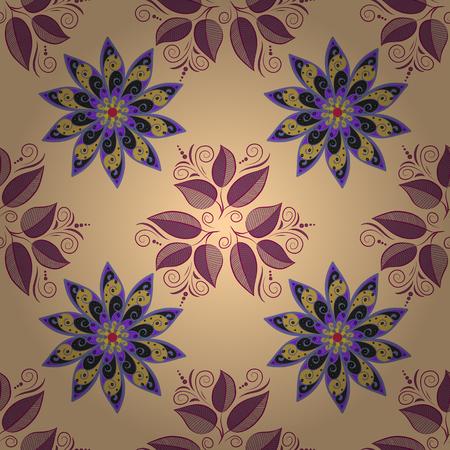 petal: Floral background. Petal flowers. Leaves. Beige background. Lilac. Illustration