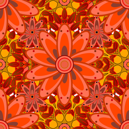 Red and yellow petal flowers and mandalas. Raster.