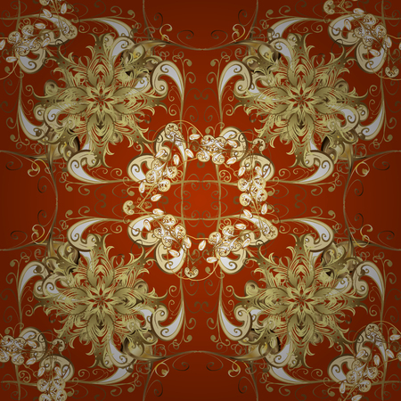 rufous: Seamless damask pattern, classic, ginger and rufous background. Vector. Red, carroty, foxy, Judas-colored.