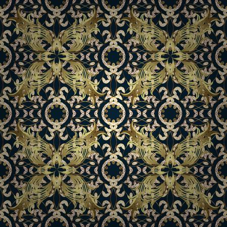 antique wallpaper: Seamless damask pattern, classic, dark blue background. Vector