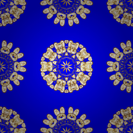Vintage blue seamless pattern with gradient golden flowers, vector