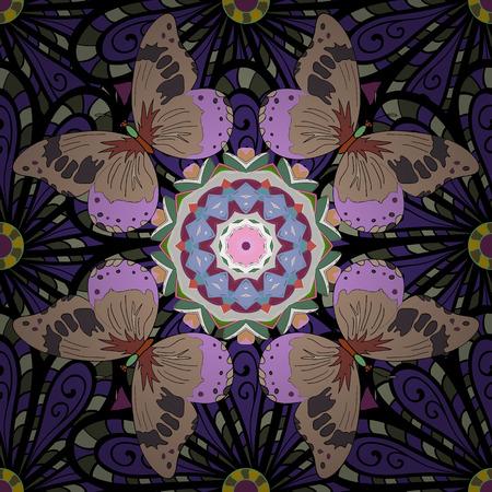 Floral seamless pattern. Dark blue flowers and butterflies, hand drawn, vector.