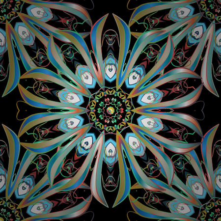 Vector background. Detailed ornament with blue and light green elements. Oriental mosaic.