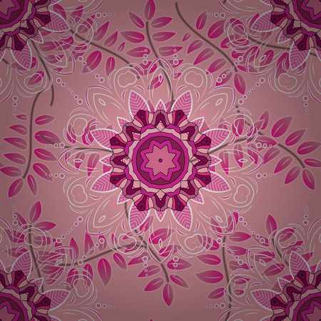 Pink background. Branch. Leaves. Mandalas. Vector illustration. Illustration
