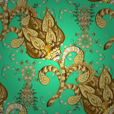 Seamless vintage pattern on green background with golden elements. Vector.