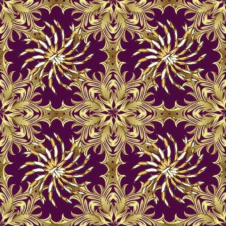 Seamless vintage pattern on dark pink background with golden elements.