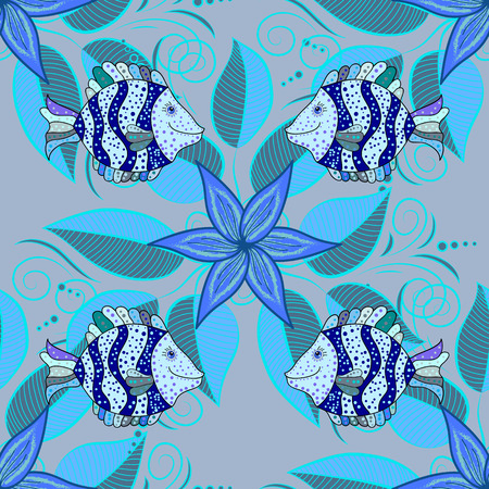 petal: abstract seamless with fishes. Vector background. Petal flowers. Leaves.