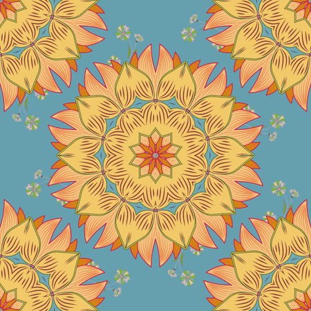 vector illustration texture. Mandala yellow and beige. Bue background.